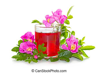 Rosa canina flowers with a herbal infusion - Vibrant pink...