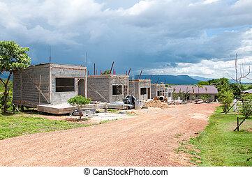 casa, construção, Novo, sob, muitos