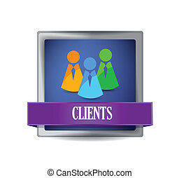 Clients glossy blue button illustration design over white