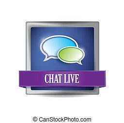 Chat live glossy button illustration design over a white...