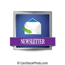 Newsletter glossy blue icon illustration design over white