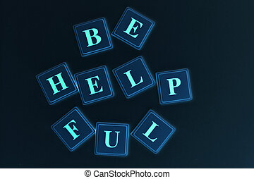 Be Helpful spelled out in colored blocks