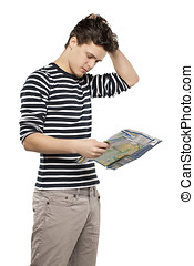 Tourist man looking at map against white background