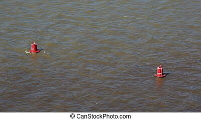 Red buoys on the river