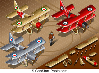 Isometric Old Vintage Biplanes in Front View - Detailed...