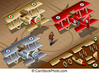 Isometric Old Vintage Biplanes in Rear View - Detailed...