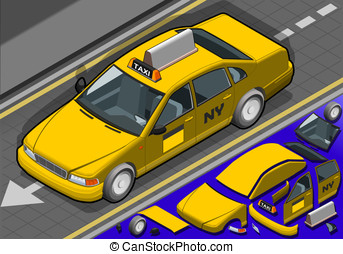 Isometric Yellow Taxi in Front View - Detailed illustration...