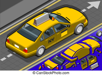 Isometric Yellow Taxi in Rear View - Detailed illustration...
