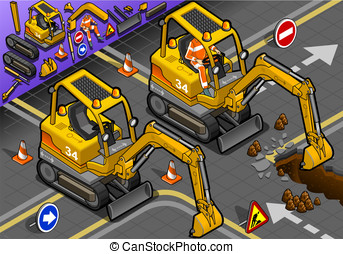 Isometric Mini Excavator with Man at Work in Front View -...