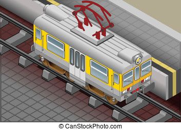 Isometric Electric Train - Detailed illustration of a...