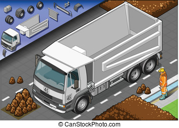 Isometric Container Truck in Front View - Detailed...