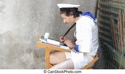 back to school funny concept, man in middy blouse writing...
