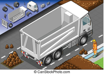 Isometric Container Truck in Rear View - Detailed...