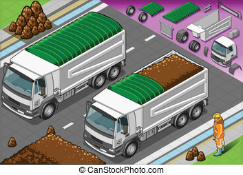 Isometric Load Container Truck in Front View - Detailed...