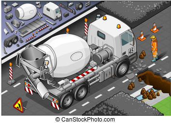 Isometric Cement Mixer Truck in Rear View - Detailed...