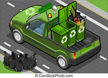Isometric Garbage Pick Up in Rear View - Detailed...
