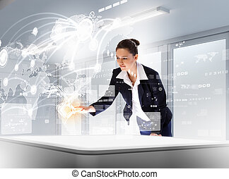 Business communications - Image of young businesswoman...
