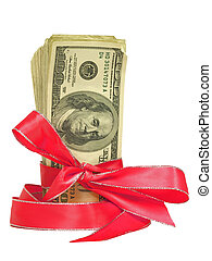 Money Tied in Pink and Red Ribbons3 - Bundles of cash tied...