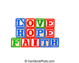 Faith, Hope, Love Letter Blocks 1 - The words FAITH, HOPE...