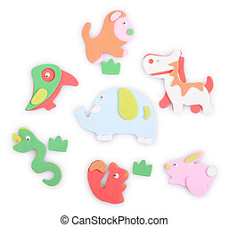 toy animals applique isolated on a white background