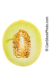 Honeydew cut in half over white background