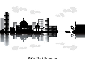 Puerto Rico skyline - black and white vector illustration