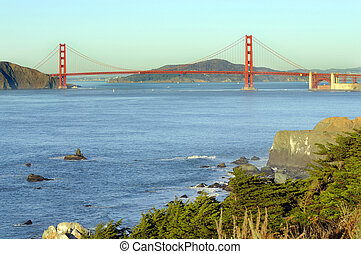 Golden gate bridge from the Presidio at sunset - Golden gate...