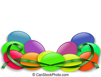 Easter Jelly Beans border - 3D Illustrated jelly bean...