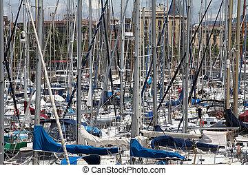 yachts in the harbor. Marina Barcelona Spain