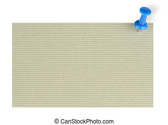 note paper with push pin on white background