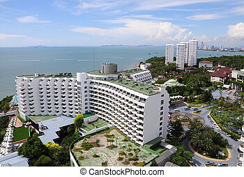 Aerial view of a hotel building and beach at pattaya,...