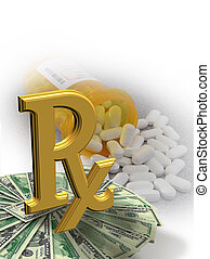 High Cost of Medicine symbol - Image and illustration...