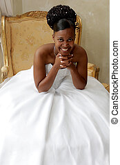 Chair Bride - A bride sitting in a big chair