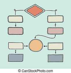 Retro flowchart illustration - Hand drawn vector...
