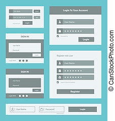 User interface form set - Vector set of user interface login...