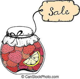 Homemade strawberry jam - Hand drawn vector illustration of...