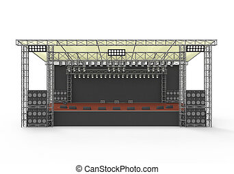 Outdoor Concert Stage isolated on white background 3D render...