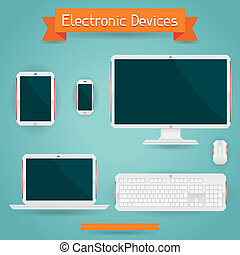 Electronic devices - computer, laptop, tablet and phone.