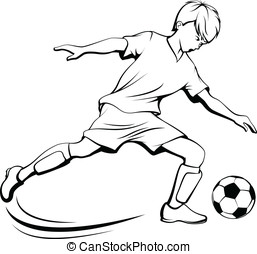 Soccer Boy Kicking - Black and white illustration of a boy...