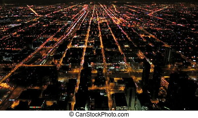 Chicago Night Aerial - A night view of Chicago from the Sky