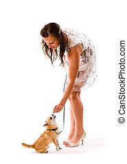 Dog training - Attractive beautiful woman training her dog,...