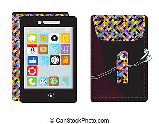 Mobile touchscreen phone with funny wallpaper and app icons