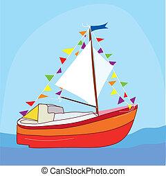 Funny yacht at the sea cartoon