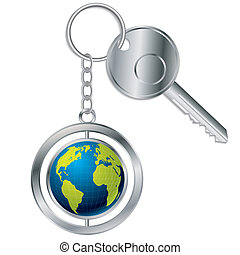 Globe keyholder with metallic key on white background