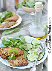 quinoa pancakes - quinoa and zucchini pancakes with green...