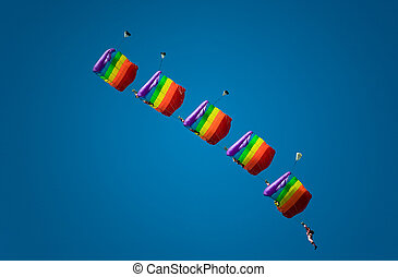 Group parachute aerobatic. - Celebrating Russian...