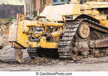 Bulldozer working - Bulldozer machine doing earth moving...