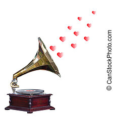 Antique Gramophone with Hearts isolated with clipping path...
