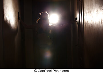Dancer - Silhouette of the woman dancing with backlight