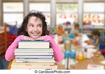 Classroom Happiness - Happy Girl With Books in Class School...